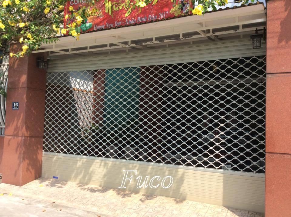 Cửa cuốn lưới mắc võng, mắt cáo inox hoặc sắt sơn tĩnh điện