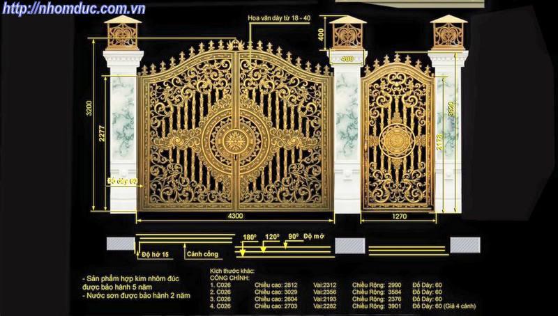 Độ dầy cổng nhôm đúc, báo giá nhôm đúc, tìm hiểu độ dầy của cổng nhôm đúc theo độ dầy