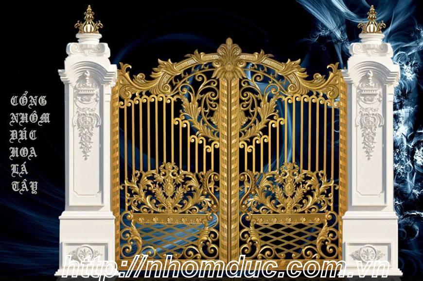 Cổng biệt thự đẹp cổng nhôm đúc