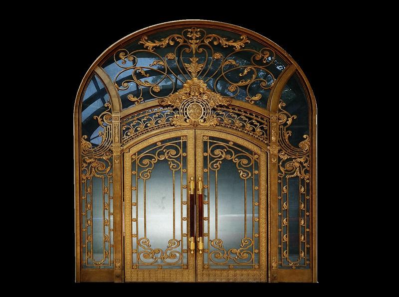 Cửa cổng nhôm đúc Hà Nội hình rồng đẹp cho nhà mặt phố