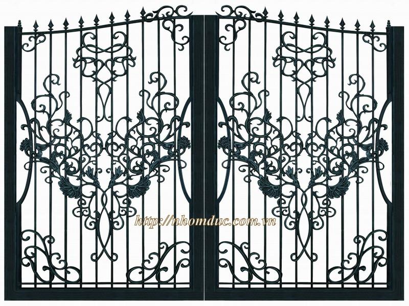 Mẫu thiết kế cổng sắt nhôm đẹp sang trọng cho nhà biệt thự